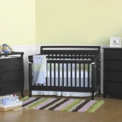 Emily Three Piece Convertible Crib Nursery Set with Toddler Rail in Ebony Black