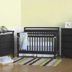 "DaVinci - Emily Three Piece Convertible Crib Nursery Set with Toddler Rail in Ebony Black - The Emily Convertible crib set is perfect for your child. Suitable for newborns, toddlers, and youth, the Emily Convertible Crib can change from a crib to a toddler bed to a daybed to a full-sized bed. The optional Wooden Bed Rails is a very simple and cost effective solution to transition your child's crib into a Full Size Bed. The mattress spring system adjusts to four different levels, allowing the crib to last through your infant's growth. FurnitureFeatures: -Emily Crib, Emily Changer & Emily Four Drawer Dresser included in set. -The Emily Convertible crib has a 4-level mattress spring system and includes the Toddler Bed conversion kit (Full size headboard and footboard). -Changing Tables includes 1"" Pad and safety belt. -Optional Wooden Bed Rails for Full Size Bed conversion. -Meets and exceeds all US safety standards. -Actual color may vary slightly from shown. -Constructed from New Zealand Radiata Pine Wood. -Ready to assemble. -Linens not included. This is a NON-Drop Side crib About New Zealand Radiata Pine Wood: Radiata Pine, better known as 'New Zealand Pine' is a softwood tree that contains many properties that make it very suitable for furniture and furniture making. It has a density equal to that of hardwoods like poplar, mahogany and oak. Its uniform density ensures a smooth and consistent texture and confers its excellent machining, painting and staining properties; there is almost no variation in color between pieces. DaVinci's pine wood originates from forests maintained by managers that enforce environmental responsibility and the conservation of forest wildlife. ***Please note that these products cannot be shipped to Alaska, Hawaii, or Puerto Rico. We apologize for the inconvenience - feel free to call us regarding alternatives! This Crib is approved for use in the United States."