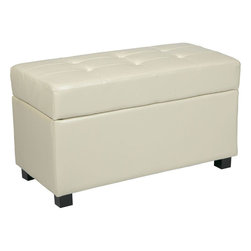 "Office Star Products - Storage Ottoman/Chest in Cream Faux Leather - Storage Ottoman/Chest in Cream Faux Leather; Storage Ottoman / Chest; Functional accessory piece compliments most any home decor; Finished in Cream PU vinyl; Top hinges open to reveal large storage area; Solid wood feet; Dimensions: 32""W x 16""D x 18""H"