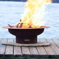 """Fire Pit Art - Fire Pit Art - Saturn 48"""" Cabon Steel Fire Pit (FPA-SAT) - The Saturn Fire Pit reminds us of its name sake planet Saturn with the spectacular ring feature in the night sky."""