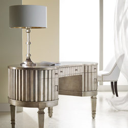 Hooker Furniture - Hooker Furniture Melange Fluted Kidney Desk 638-10006 - Come closer to Melange, and you will discover something unexpected, an eclectic blending of colors, textures and materials in a vibrant collection of one-of-a-kind artistic pieces.