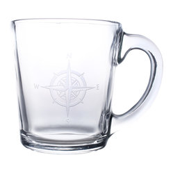 Compass Rose Clear Coffee Mug 13.5oz, Set of 4