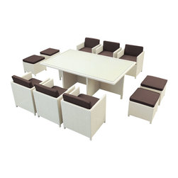 LexMod - Reversal Outdoor Wicker Patio 11 Piece Dining Set in Tan with Brown Cushions - Stand out from the uniform masses and harness the essential power of transformation with this formative Outdoor Rattan Chair and Table set. Go forth as you convene with friends and family in a leisurely exercise of implementing positive change blended with a fresh and innovative focus.