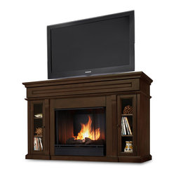 Real Flame - The Lannon Ventless Real-Flame Gel-Fuel Fireplace - This hardwood ventless gel-fuel fireplace is a must-have for the modern home. Featuring a real flame gel-fuel fireplace and a convenient entertainment center, this functional piece has ample storage space and a hidden center compartment for accessories.