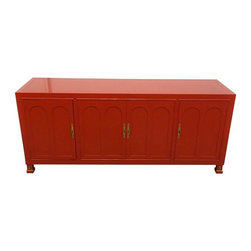 Pre-owned Hollywood Regency Red-Orange Lacquered Sideboard - This piece is deserving of a room to pop in! Picture it in a sultry dining room. Restored in a polish lacquered finish.