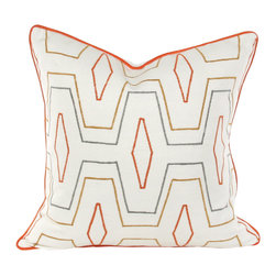 "V Rugs & Home - V Rugs & Home Maya Cream Square Pillow - Layered with geometric texture, the cream Maya throw pillow artfully blends pattern and color. Its lattice style boasts simple shapes for an exciting design. 20""W x 20""H; 100% linen; Embroidered cotton velvet appliques; Down feather pillow insert included; Made in the USA; Dry clean only"