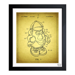 """The Oliver Gal Artist Co. - ''Mr Potato 2001' 10""""x12"""" Framed Art - Exclusive blueprints inspired by real vintage patent drawings & illustrations. Handcrafted in the Oliver Gal Artist Co. Studios in Miami, Florida. Produced on matte proofing paper and hand framed by professional framers in a 1.2"""" premium black wood frame. Perfect for any interior design project, gifts, office décor, or to add special value to one of your favorite collections."""