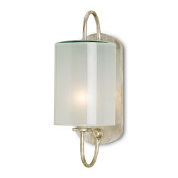 Currey and Company - Glacier Wall Sconce - This effortless design is the perfect companion for the powder or bath room. Certified for damp conditions and made with a fine Silver Leaf finish, the Glacier's straightforward charm is confident and chic.