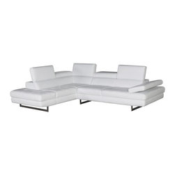 JNM Furniture - A761 Modern Leather Sectional Sofa, White - The A761 Sectional  is class-fully designed with padded adjustable armrest that feature a ratchet system for adjust-ability. The A761 sectional also features 6 adjustable head cushions, and boxed back, seat cushions. This beautiful sectional is Constructed