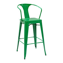 Crosley Furniture - Crosley Furniture Amelia Metal Cafe Barstool w/ Back in Green - Set of 2 - Originally made famous in the quaint bistros of France, these midcentury replicas of original Cafe seating will offer a dose of nostalgia combined with careful consideration for your wallet.  This inspired revival evokes a sense of a true vintage find. (Sold in Pairs)