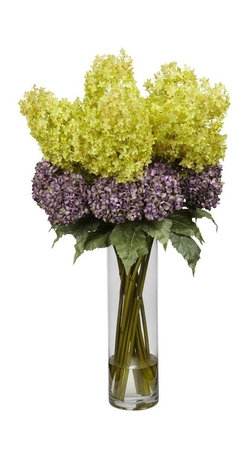 Nearly Natural - Giant Mixed Hydrangea Silk Flower Arrangement - Makes a great centerpiece. A melding of rich pastel colors. Create the essence of freshly cut flowers. Construction Material: Polyester material, plastic, Iron, Glass. 20 in. W x 20 in. D x 40 in. H ( 13 lbs. ). Pot Size: 6 in. W x 20.5 in.HThis pretty 40 inch high Mixed Hydrangea arrangement makes a great centerpiece or room focal point. A layered melding of rich pastel colors creates a complementary pattern not usually found with single arrangements. Set in a clear vase with liquid illusion with cut stems to create the essence of fleshly cut flowers. Best of all, this arrangement never needs watering, so you can admire it forever!