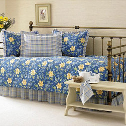 Laura Ashley - Laura Ashley Emilie 5-piece Daybed Set - Emilie daybed set is a beautiful floral print with bright colors,Bedding design is timeless and will update the look of any roomQuilt daybed set is made of 100-percen cotton material including the fill