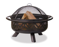 Uniflame - Uniflame WAD1009SP Oil Rubbed Bronze Outdoor Firebowl w/ Geometric Design - Oil Rubbed Bronze Outdoor Firebowl w/ Geometric Design belongs to Outdoor Living Collection by Uniflame