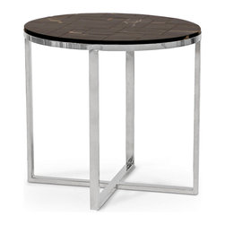Kathy Kuo Home - Lakota Industrial Loft Petrified Wood Black Oval Side Table - Intriguing and rare, petrified wood takes on the qualities of stone, sculpted into an oval shaped tabletop. The hand-crafted mosaic creates a truly unique pattern of black, brown and cream.  Four polished stainless steel angular legs form the frame of this fantastic focal point.