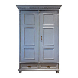 Painted Gray Armoire - Large pieces of furniture play an important role to the decoration process. I'd pick this grayish armoire to anchor my bedroom.