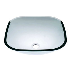 Renovators Supply - Vessel Sinks Clear Glass Square Serena Vessel Sink - Square Sinks. Glass Vessel Sinks: Single Layer Tempered glass sinks are five times stronger than glass, 1/2 inch thick, withstand up to 350 F degrees,  can resist moderate to high degrees of impact & are stain��_��__��_��__��_��__proof. Ready to install this package includes FREE 100% solid brass chrome-plated pop-up drain, FREE machined 100% solid brass chrome-plated mounting ring & silicone gasket. Serena is the clearest of all our vessels. Measures 16 1/4 in. L x 16 1/4 in. W x 5 1/2 in. deep. x 1/2 in. thick.