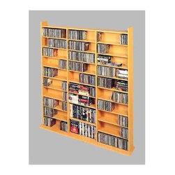 Leslie Dame - Library Wall Multimedia Storage Rack (Black) - Color: BlackPerfect for those with large media collections, this wall cabinet can hold all of your videos, games, computer discs, and music in one convenient place. Mounts to your wall for added durability and stability and comes in an attractive finish that coordinates with any decor. Pictured in Oak. Holds 1500 CD's, 612 DVD's, 900 Audiocassettes or 360 VHS Videocassettes. Great Storage for CD ROMs and Video Cartridges. Beautifully designed cabinet with Adjustable Shelves. Superior hand crafted quality. Deluxe wood grain finish. Heavy duty construction. MDF with Vinyl Veneer. Some assembly required. 65.8 in. W x 9.5 in. D x 63.75 in. H (122 lbs.)