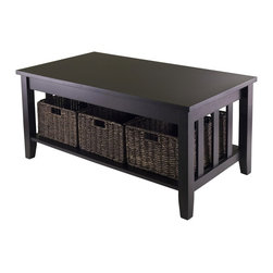 """Winsome Wood - Winsome Wood Morris Coffee Table with 3 Foldable Baskets X-14429 - Morris Collection is perfect tables with plenty of storage.  Coffee Table  is 40""""W x 22.05""""D x 18.11""""H with 1 section with opening of 35.28""""W x 20.47""""D x 9.84""""H.  Table comes with three foldable baskets made from Corn Husk, size 16""""W x 11""""D x 7""""H.  Table made from solid and composite wood.  Assembly Required."""
