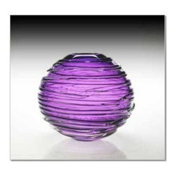 "William Yeoward - William Yeoward Sophie Vase 9"" Amethyst - Sophie is a stunning spherical vase in vibrant color with trailing glass around the bowl."