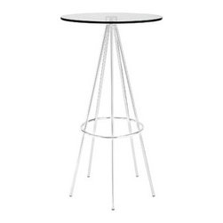 "LexMod - Sync Bar Table in Clear - Sync Bar Table in Clear - Five chrome plated steel legs join together in unison with a modern bar table timed perfectly right for your gatherings. Topped with a tempered glass surface and outfitted with a footring near the base, Sync is a seamless piece that is both minimalist and delicately elaborate. Perfect for modern bar settings and lounge areas. Set Includes: One - Sync Bar Table Modern bar table, Chrome plated steel legs, Tempered glass top Overall Product Dimensions: 23""L x 23""W x 42""H Table Top Dimensions: 0.5""H - Mid Century Modern Furniture."