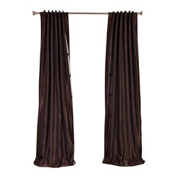 "Exclusive Fabrics & Furnishings, LLC - Coffee Bean Vintage Textured Faux Dupioni Silk Curtain - 100% Polyester. 3"" Pole Pocket with Back Tabs. Lined. Interlined. Imported. Weighted Hem. Dry Clean Only."