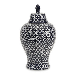 iMax - iMax Layla Large Urn X-54578 - The blue and white quatrefoil patterned large Layla urn adds a chic vibe to any room.