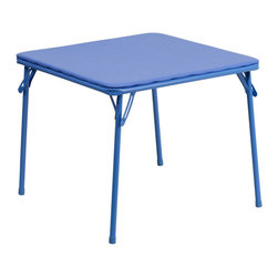 Flash Furniture - Flash Furniture Kids Blue Folding Table - JB-TABLE-GG - This child sized folding table is perfect for toddlers. Children can enjoy a table of their own for eating, reading, creating and playing. This table can be used outdoors so children can enjoy playtime outside or for a comfortable picnic setting. The easy to clean vinyl padded table top is great for toddler use. [JB-TABLE-GG]