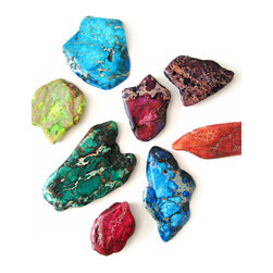 Pretty Little Things - Rock On Magnets Set of 8 - These dyed imperial jasper gems will have your space rocking!