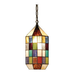Meyda Tiffany - Meyda Tiffany Meyer Paned Lantern Pendant Light X-59025 - Enrich the look of your home with the wonderful blocks of color on this Tiffany Lantern Pendant Light. The array of hues create visual interest and will bring personality and charm into any home. The overall look is completed with its rich Mahogany Bronze Finish.