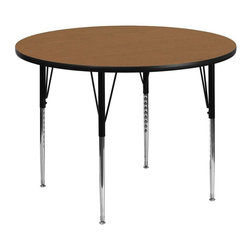 "Flash Furniture - 42"" Round Activity Table with Oak Top and Standard Height Adjustable Legs - Flash Furniture's XU-A42-RND-OAK-T-A-GG warp resistant thermal fused laminate round activity table features a 1.125 in.  top and a thermal fused laminate work surface. This Round Laminate activity table provides a durable work surface that is versatile enough for everything from computers to projects or group lessons. Sturdy steel legs adjust from 21.125 in.  - 30.125 in.  high and have a brilliant chrome finish. The 1.125 in.  thick particle board top also incorporates a protective underside backing sheet to prevent moisture absorption and warping. T-mold edge banding provides a durable and attractive edging enhancement that is certain to withstand the rigors of any classroom environment. Glides prevent wobbling and will keep your work surface level. This model is featured in a beautiful Oak finish that will enhance the beauty of any school setting."