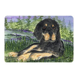 Caroline's Treasures - Gordon Setter Kitchen or Bath Mat 24 x 36 - Kitchen or Bath Comfort Floor Mat This mat is 24 inch by 36 inch. Comfort Mat / Carpet / Rug that is Made and Printed in the USA. A foam cushion is attached to the bottom of the mat for comfort when standing. The mat has been permanently dyed for moderate traffic. Durable and fade resistant. The back of the mat is rubber backed to keep the mat from slipping on a smooth floor. Use pressure and water from garden hose or power washer to clean the mat. Vacuuming only with the hard wood floor setting, as to not pull up the knap of the felt. Avoid soap or cleaner that produces suds when cleaning. It will be difficult to get the suds out of the mat.