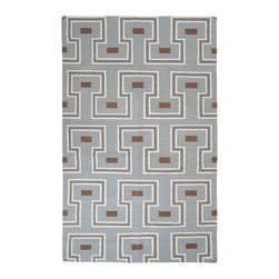 Surya - Surya Frontier Geometric Stone Hand Woven Wool Rug - The funky geometric pattern of the Surya Frontier area rug creates a retro modern vibe ideal for casual spaces. With its muted color palette smartly contrasting its bold linear design, this floor covering makes an easy addition to transitional interiors. 100% hand woven wool. Dried oregano, papyrus, stone, mocha. Flat pile. Available in several sizes. Rug pad recommended.