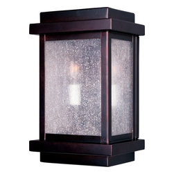 Maxim Lighting - Maxim Lighting Cubes Transitional Outdoor Wall Sconce X-UBDC1564 - This Maxim Lighting outdoor wall sconce from the Cubes Collection is a great way to add subtle traditional and modern elements to any outdoor space. The body is constructed of a sturdy aluminum and paired with seedy glass panels, ensuring it will last for years to come. The warm tones of the Burnished finish and the beautiful candelabra style lights pull the look together.