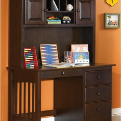 """Atlantic Furniture - Windsor Desk with Optional Hutch - ATF275 - Shop for Desks from Hayneedle.com! A great homework desk the Windsor Desk with Optional Hutch features a large work surface and ample storage drawers for organizing your work space. The desk is made with mortise-and-tenon construction for extra durability. The three deep drawers and one narrow drawer feature rear box joints and French dovetail joinery on the drawer fronts for strength and resilience. Metal drawer glides ensure smooth drawer operation as you store writing utensils notepads books or odds and ends in the drawers. In addition to its solid rubberwood construction you'll appreciate this desk's casual design features including round wooden knobs and vertical slats on the left side. This desk is finished using a high-build five-step finishing process involving sealer coats sanding and multiple finish color coats. This process produces a durable finish. Choose from several finish options to complement any casual cottage-style bedroom in your home. No assembly required. The beauty and benefits of rubberwood: Hailing from the maple family of trees the rubber tree is used in the manufacture of high-end furniture. It is valued for its dense grain minimal shrinkage attractive color and acceptance of different finishes. It is also prized as an """"environmentally friendly"""" wood as it makes use of trees that have been cut down at the end of their latex-producing cycle. About Atlantic FurnitureFounded in 1983 as Watercraft Inc. Atlantic Furniture started as a manufacturer of pine waterbed frames. Since then the Springfield Mass.-based company has expanded to Fontana Calif. The company has moved away from the use of pine and now specializes in imported furniture made of the wood of rubber trees. The Benefits of Eco-Friendly RubberwoodPrized as an environmentally friendly wood rubberwood makes use of trees that have been cut down at the end of their latex-producing life cycle. The trees are removed by hand """