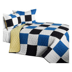 Blancho Bedding - Delicate Plaid - A Cotton Vermicelli-Quilted Patchwork Plaid Quilt Set-Queen - The [Delicate Plaid - A] Cotton Vermicelli-Quilted Patchwork Plaid Quilt Set-Queen includes a quilt and two quilted shams. This pretty quilt set is handmade and some quilting may be slightly curved. The pretty handmade quilt set make a stunning and warm gift for you and a loved one! For convenience, all bedding components are machine washable on cold in the gentle cycle and can be dried on low heat and will last for years. Intricate vermicelli quilting provides a rich surface texture. This vermicelli-quilted quilt set will refresh your bedroom decor instantly, create a cozy and inviting atmosphere and is sure to transform the look of your bedroom or guest room. (Dimensions: Full/Queen quilt: 90.5 inches x 90.5 inches; Standard sham: 24 inches x 33.8 inches)