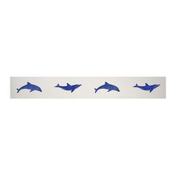 "Glass Tile Oasis - Step Marker Dolphin Blue Pool Glossy Ceramic - Sheet size:  3"" x 24""    Tile thickness:  1/4""   Sheet Mount:  Mesh Backed    Sold by the piece   -"
