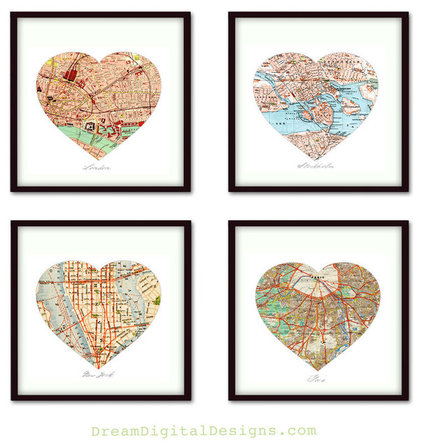 Contemporary Artwork Custom Map Art - Personalized set 4 Heart Map Prints
