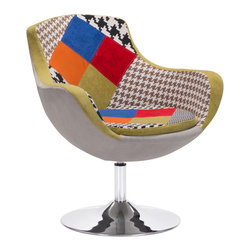 Zuo Modern Contemporary, Inc. - Walloon Occasional Chair Patchwork Multicolor - With a fashion forward multi-color and multi-pattern patchwork, The Walloon Chair is a fun statement piece for any space.  It swivels with a chrome steel base.  This chair will wow all those see it!