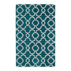 "Kaleen - Contemporary Revolution 5'x7'9"" Rectangle Teal Area Rug - The Revolution area rug Collection offers an affordable assortment of Contemporary stylings. Revolution features a blend of natural Teal color. Hand Tufted of 100% Wool the Revolution Collection is an intriguing compliment to any decor."
