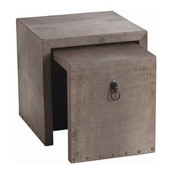 Arteriors - Arteriors Home - Equus 2 Piece Nesting End Table - DD2022 - Arteriors Home - Equus 2 Piece Nesting End Table - DD2022 Features: Equus Collection End TableLeather FinishMDF / Leather MaterialChestnut shagreen embossedBronze horse headDesigner trend style Some Assembly Required.