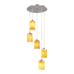 Design Classics Lighting - Multi-Light Pendant with Cylinder Art Glass and Five Lights - 580-09 GL1022C - Satin nickel finish multi-light pendant with five butterscotch art glass cylinder shades. Includes one satin nickel five port ceiling canopy. Each mini-pendant comes with 7-feet of clear cuttable cord that allows for custom height adjustability for each pendant. Takes (5) 100-watt incandescent A19 bulb(s). Bulb(s) sold separately. UL listed. Dry location rated.