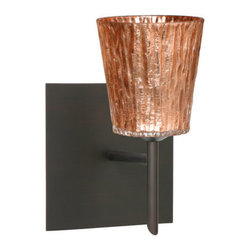 Besa Lighting - Besa Lighting 1SW-5125CF-SQ Nico 1 Light Halogen Bathroom Sconce - Nico 4 features a tapered drum shape that fits beautifully in transitional spaces. Our Stone Copper Foil glass is a clear blown glass with an outer texture of coarse sandstone, with distressed metal foil hand applied to the inside. Inspired by the elements of nature, the appearance of the surface resembles the beautiful cut patterning of a rock formation. This blown glass is handcrafted by a skilled artisan, utilizing century-old techniques passed down from generation to generation. Each piece of this decor has its own artistic nature that can be individually appreciated. The mini sconce is equipped with a decorative lamp holder mounted to either a low profile round or square canopy.Features: