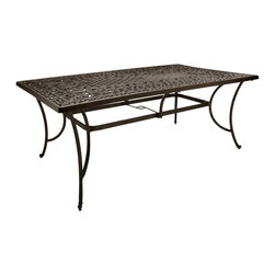 "Strathwood - Strathwood St. Thomas Rectangular Table - ""The Strathwood St. Thomas all-weather dining table includes a 2-inch umbrella hole in the centerMade of durable, lightweight, rust-resistant cast aluminum; easy assemblyScrolling vine motif in dark-brown finish with bronze highlights and silver flecksPart of coordinating St. Thomas dining collection; matching chairs and accessories sold separatelyTable measures 72 inches long by 42-1/2 inches wide by 28-1/2 inches high"""