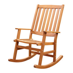 Home Styles - Home Styles Bali Hai Outdoor Rocking Chair in Eucalyptus Finish - Home Styles - Rocking Chairs - 5660581 - Create an island oasis on your porch or patio with a Home Styles Bali Hai Outdoor Rocking Chair.  Showcasing an island inspired design in a versatile natural teak finish and construction of eco-friendly plantation grown Shorea wood which is known for its exceptional durability and natural resistance to water this rocking chair is designed to provide endless hours of outdoor entertainment use.  Curved back and contoured seat provides excellent support and imparts a slightly modern touch to the overall traditional slat design.