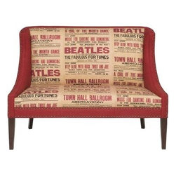 V592-SE, L592-SE Settee; Beatles Fabric - This is definitely a conversation piece that adds some Fab Five fabulousness to any room in your home.