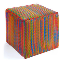 Fab Habitat - Cancun Pouf, Multicolor - Scatter these handy cubes indoors or out as extra seats or side tables. The cover is handmade from recycled polypropylene and filled with polystyrene, for long-lasting comfort and color retention. These colorful, striped cubes adapt easily to any decor, adding a festive touch to the pool, patio or playroom. They even stack easily for storage.