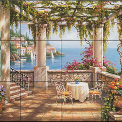 The Tile Mural Store (USA) - Tile Mural - Sk - Morning Terrace Ii - Kitchen Backsplash Ideas - This beautiful artwork by Sung Kim has been digitally reproduced for tiles and depicts a covered patio overlooking the mediterranean.  This garden tile mural would be perfect as part of your kitchen backsplash tile project or your tub and shower surround bathroom tile project. Garden images on tiles add a unique element to your tiling project and are a great kitchen backsplash idea. Use a garden scene tile mural for a wall tile project in any room in your home where you want to add interesting wall tile.