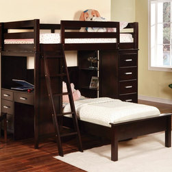 Coaster Workstation Loft Bunk Bed in Cappuccino - Crafted from solid wood for durability, the rich cappuccino finish offers an attractive updated look for the Coaster workstation bunk bed.