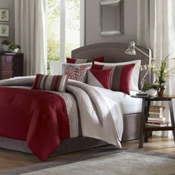 E & E Co., Ltd. - Tradewinds 7-Piece Comforter Set - A classic color block pattern gets a modern twist on this cozy comforter set. The beautiful fabric has the look and feel of silk with delicate pintucking that gives it a posh, sophisticated style.