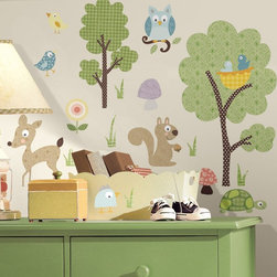 RoomMates - Woodland Animals Peel and Stick Wall Decals Multicolor - RMK1398SCS - Shop for Wall Decorations from Hayneedle.com! Perfect for any little nature lover or adventurer the Woodland Animals Peel and Stick Wall Decals will bring your favorite forest animals into your home. A perfect complement to the Woodland Animals Border (sold separately) these decals feature whimsical animals and plant life in bright bold colors and fun funky patterns. They're perfect for a child's room (though you'll probably want them for your own walls!) and you can easily and quickly create a whole new scene by peeling the decals from your wall and rearranging them. The wall decals are made from durable flexible vinyl and are completely safe for both your walls and your kids.Additional Features:Remove and reapply as many times as you likeSizes range from .5W x 1H to 8W x 13.75H inchesWipe clean with soft damp cloth and mild soapDon't use glass cleaner; may cause colors to runAbout Roommates:Roommates a subsidiary of York Wallcoverings Inc creates some of the most versatile and unique wall decor you'll find. Their innovative wall decals feature a removable and endlessly reusable design allowing you to move and rearrange your decals as often as you like all without causing any damage to your walls or furnishings. This means you can apply them without worry or headache since you don't have to get the application perfect the first time. RoomMates work on any smooth surface and are particularly ideal for temporary decorating such as around the holidays. All RoomMates products are proudly made in the USA and are made from non-toxic materials so they're as safe for your kids and pets as they are for your walls.Please note this product does not ship to Pennsylvania.
